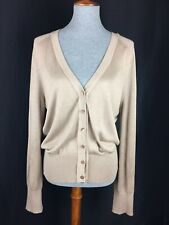 Pendleton Women's Petite XL Light Brown Button Cardigan Long Sleeve V-Neck Silk