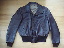 Vtg 40s Brown Leather A-2 Style Flight Jacket Talon Bomber Motorcycle USA RARE