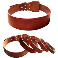 Heavy Duty Genuine Leather Dog Collars for Small Medium Large Dogs 6 Sizes Brown