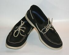 Sperry Top Sider Boat Shoes Moc-Toe Loafers Leather Mens 10 M Dark Blue & White