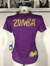 Zumba Fitness Instructor  V Neck Tee Top Light  Spicy Sz S Purple Neon Green