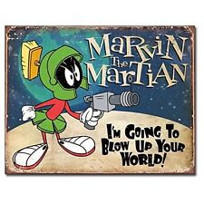 Marvin The Martian Looney Tunes Cartoon Weathered Retro Decor Metal Tin Sign New