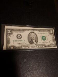 1976 Miscut 2 Dollar Bill ERROR- fronth and rear