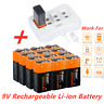 9v Li-ion 6F22 Rechargeable Batteries 850mAh Lithium-Ion battery & charger PP3