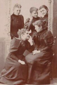 "Vtg Cabinet Card ""At the Walter Home 1894""Women in Black Lecher Studio Milwaukee"