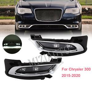 2× LED DRL Fog Light For 2015-2020 Chrysler 300 Front Driving Lamp Chrome Cover