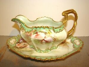 Elite Limoges Gravy Boat & Underplate w/ Hand Painted Sea Shells & Gold