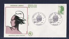 enveloppe 1er jour   Liberté  1,90   vert  musée de la poste    1986