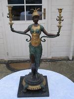 Bronzeskulptur / Kerzenleuchter im Stil des Empire mit Granitsockel um 1900 RAR