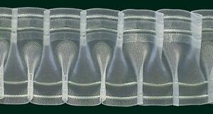 Smokband - Schmuckfalte - Reihband, 80 mm, volltransp., 200 % / Aufmachung 10 m