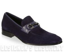SALVATORE FERRAGAMO blue 9.5E suede CREMONA Gancini loafers shoes NIB Auth $695!