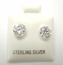 2CTW 6MM Round Cut CZ Sterling Silver Earring Studs 925 Silver