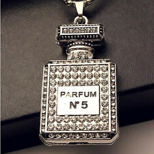 Retro Rhinestone Perfume Bottle Pendant Necklace For Women JewelryChain Decor CC