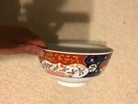 "Vintage Hand painted  Chinese/Japanese Imari porcelain big Bowl- 8""D"