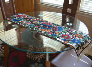 Cotton Ari Chain Stitch Embroidery Hand Made Floral Motif Table Runner Kashmir