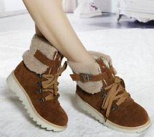 Women's Fashion Winter Warm Round Toe Lace Up Flats Heel Ankle Boots Outdoor_复制