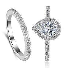 Silver Women Wedding Bridal Engagement Ring Set Drop Shape Ring Size 9 R206