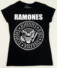 RAMONES Classic Seal Logo T-shirt Punk Rock Baby Doll Tee JUNIORS LARGE New