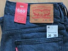 Levi's Men's New 569 38X32 Blue Stretch Jeans Loose Straight XRoom SeatThigh 218