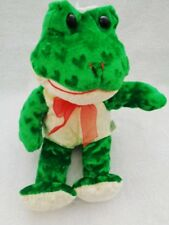 "Frog Green Hearts Yellow Belly 11"" Plush Stuffed Soft Velvet Goffa Int'l Corp"