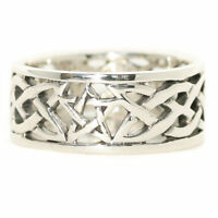Pentagram Celtic Knot Ring Solid Sterling Silver Pagan Wiccan Finger Band R022