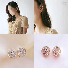 New Fashion Women Lady Elegant circle Crystal Rhinestone Ear Stud Earrings Hot
