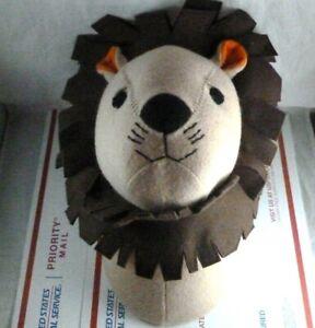 Wool Felt Lion Head Wall Hanging Trophy Taxidermy Kids Room Decor Soft Plush 3D