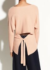 Vince Tie Back Wool Cashmere Ribbed Boat Neck Dolman Sweater Blush M NWT $325