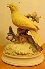 vintage ceramic bird music box with yellow bird made in Japan