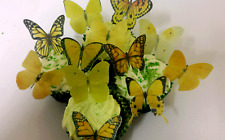 12 Precut Edible Yellow Mix Butterflies for cakes and cupcake toppers