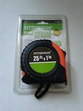 PITTSBURGH QUICKFIND TAPE MEASURE 25 FT. X 1 IN. ABS RUBBER WRAPPED CASE NIP