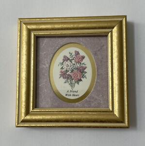 "A Friend With Heart Framed Heartfelt Collection 4x4"" Kathy Seek 1992 CottageCore"