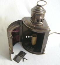 Schiffslampe - Backbordlampe - elektrisch- matt Messing- brüniert- Anlaufschutz