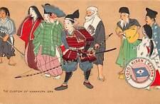 JAPAN, SAMURAI WITH PEOPLE, ARTIST IMAGE, T.K.K. SHIP LINE PUB, c. 1904-14