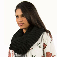 2016 NWT WOMENS ELEMENT MELLA TUBE SCARF $25 Black large knit chunky