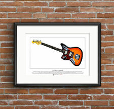 Kurt Cobain's Fender Jaguar guitar Limited Edition Fine Art Print A3 size