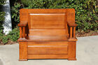Fabulous Solid Quartersawn Oak Mission Hall Seat Bench ~ Ca.1910
