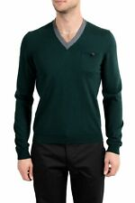 Dsquared2 Men's 100% Wool Dark Green V-Neck Sweater US M IT 50