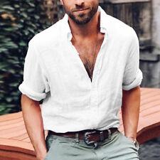 Mens Summer V Neck Shirt Blouse Button Down Vintage Linen T Shirt Tops Tee Loose
