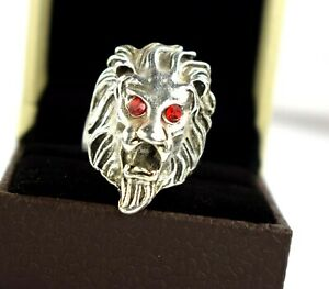 Ideal Birthday Gift Handmade Turkish 925 Sterling Silver Red CZ Lion Ring