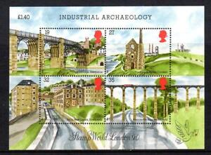 1989 GB INDUSTRIAL ARCHAEOLOGY Miniature Sheet Stamps + Descriptive Mount MS1444