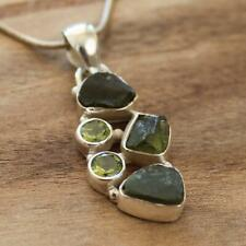 100% 925 Solid Sterling Silver Rough Green Peridot Natural Stone Pendant