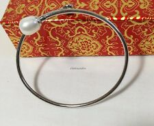 Genuine solid 925 silver 8-9m drop freshwater pearl cuff bangle Dia56.5mm
