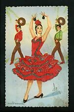 Embroidered clothing postcard Artist Gumier Spain woman flamenco dancers