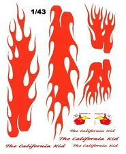 The California Kid flames 1/43rd Scale Slot Car Waterslide Decals