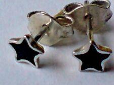 Pendientes de plata esterlina y Negro Onyx pequeño en forma de estrella 3 mm Aretes sólo £ 6.50 Nuevo con etiquetas