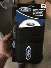 10 CD Holder DVD Visor Organizer  Blue Ford Logo Black 006303
