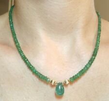 24ct Zambian pear Emerald 2mm -12mm medium green 14k gold necklace 17 inch long
