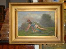 Belle huile sur panneau d'un guerrier à l'affut ,signée ,31 x21 cm