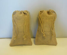 """2 BURLAP JUTE SACKS WITH DRAWSTRINGS 6"""" BY 10"""" WEDDING PARTY FAVOR GIFT BAGS"""